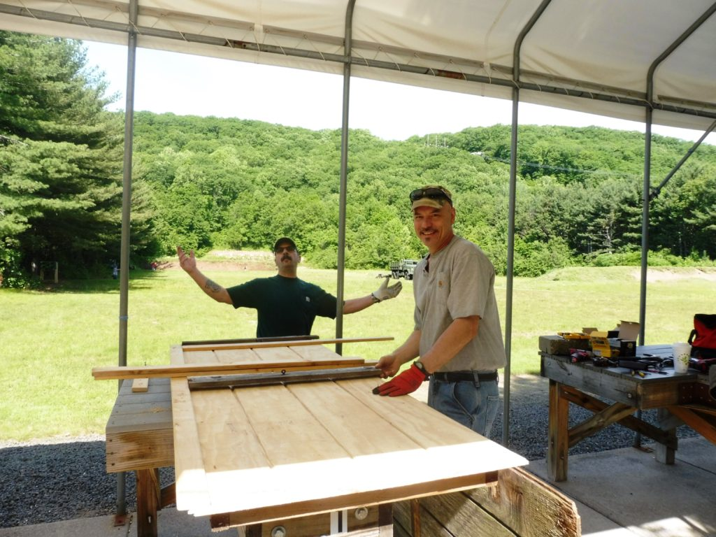 John & Brian manufacturing a new shed door
